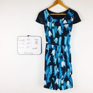 Kensie Falling Leaves Dress Blue Black size 10